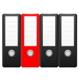 Row of black binder folders with one red folder vector | Price: 1 Credit (USD $1)