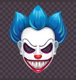 scary evil clown mask on transparent vector image vector image