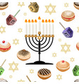 seamless background with symbols of hanukkah vector image vector image