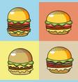 set deicious hamburger fast food vector image vector image