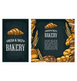 set horizontal and square posters with bread vector image vector image