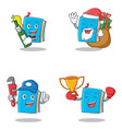 set of blue book character with beer gift plumber vector image vector image
