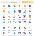 set trendy flat gradient household icons vector image vector image