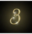 Shiny number three of gold and diamond vector image vector image
