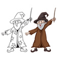Sketches of a wizard in two colours vector image vector image
