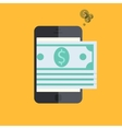 smartphone with mobile payment on orange vector image