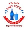 Soda drinks symbol for fast food cafe design vector image