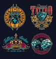 tattoo salon colorful labels set vector image vector image