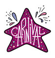 unique lettering with doodles of a carnival vector image vector image