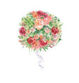 watercolor flower bouquet raster vector image vector image
