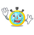 waving isolated stopwatch with in the character vector image vector image
