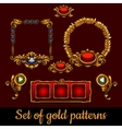 Bulk set of gold patterns and decorations vector image