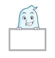 grinning with board cute ghost character cartoon vector image