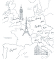 Hand drawn tourist map with sights of Europe vector image