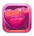 App icon with funny cute pink character vector image vector image