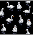 beautiful seamless pattern with white swans vector image vector image