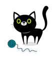 black cat with ball vector image vector image