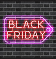 black friday price tag neon sign vector image vector image