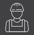 builder line icon build and repair construction vector image vector image