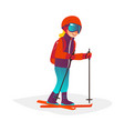 cartoon boy skiing in goggles isolated vector image vector image
