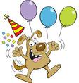 Cartoon dog with balloons vector image