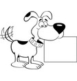 cartoon happy dog holding a sign vector image vector image