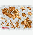 christmas decorations golden holly 3d realistic vector image
