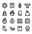 christmas icons - santa claus elf and sled vector image vector image