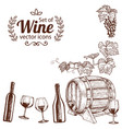 corner frame of sketch wine icons vector image vector image