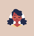 cute african girl with glasses - flat avatar vector image vector image