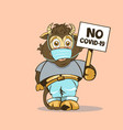 funny baby bull with a sign in his hand vector image vector image