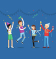 funny people celebrating on the party mascot vector image
