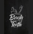glass with toothpaste and brush graphics chalk vector image vector image