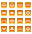 golden labels icons set orange vector image vector image