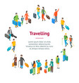isometric travel people characters banner card vector image vector image