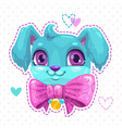 little cute cartoon blue fluffy puppy face vector image vector image