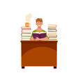 man reading books in library sitting at the table vector image vector image