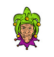 medieval court jester etching color vector image