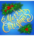 Merry Christmas lettering card with holly vector image