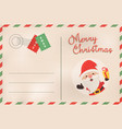 merry christmas retro santa claus holiday postcard vector image