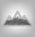 mountain sign pencil sketch vector image vector image