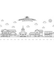neighborhood with home store and church vector image vector image