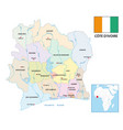 new administrative map ivory coast vector image vector image