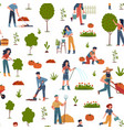 people gardening seamless pattern with farmers vector image