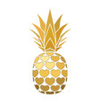 pineapple golden sign with hearts for t-shirt vector image