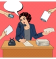 Pop Art Multitasking Busy Business Woman at Office vector image vector image