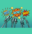 press conference microphones background yes no vector image