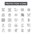 protection line icons signs set outline vector image vector image