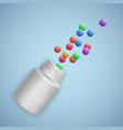 realistic white bottle with pills medical vector image vector image