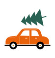 red car with a green christmas tree on roof vector image